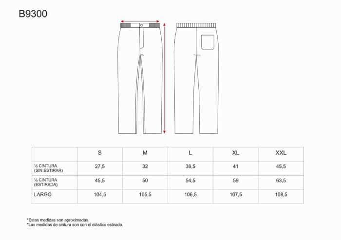 Tabela de Tamanhos calças B9300