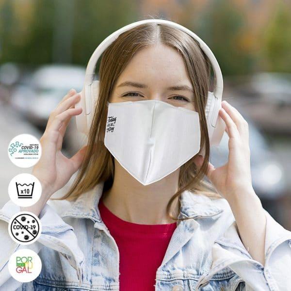 Mascara Certificada Reutilizável Personalizada Em Bordado